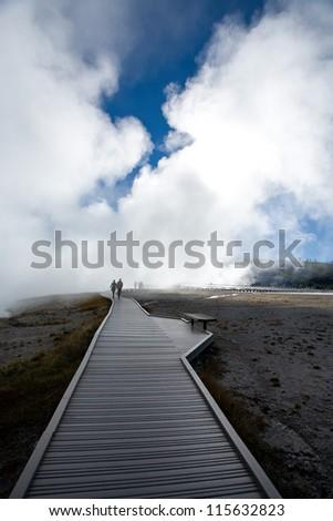 walkway at Grand Prismatic Spring - stock photo