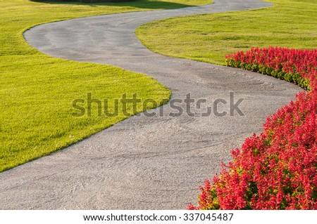 walkway in garden. - stock photo