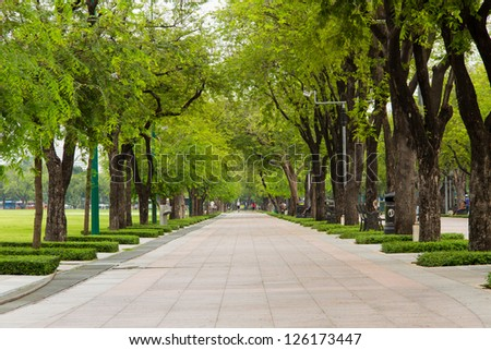 walkway in garden at bangkok,Thailand - stock photo