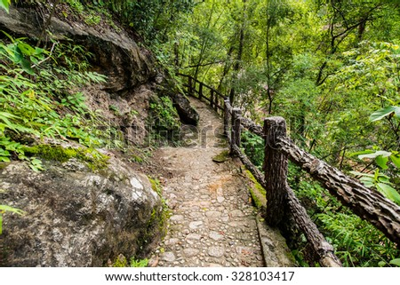 Walkway in Ob Luang national park, Thailand. - stock photo
