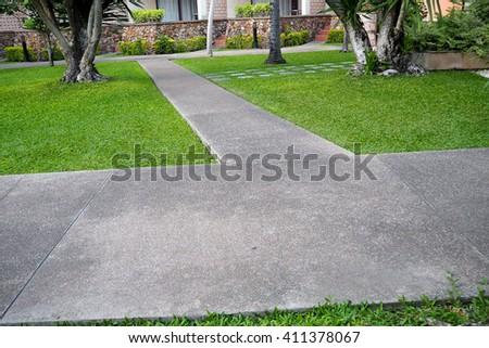 Walkway in park. - stock photo