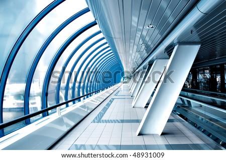 walkway inside modern building - stock photo