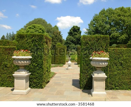 Walkway into the gardens.Ontairo,Canada - stock photo