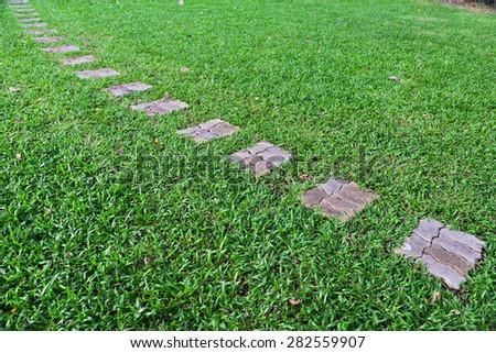 Walkway on green grass in garden - stock photo