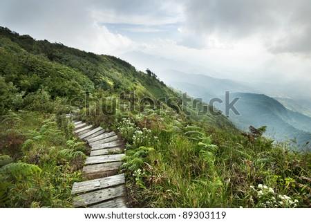 walkway on mountain - stock photo