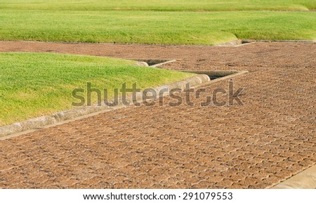 Walkway paved with bricks in the garden - stock photo