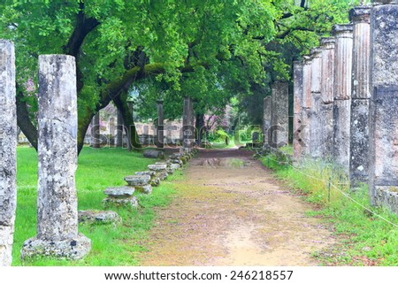 Walkway sided by rows of ancient columns at the sanctuary of Zeus, Olympia, Greece - stock photo