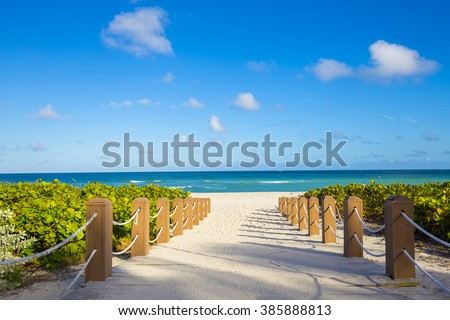 Walkway to famous South Beach, Miami Beach, Florida - stock photo