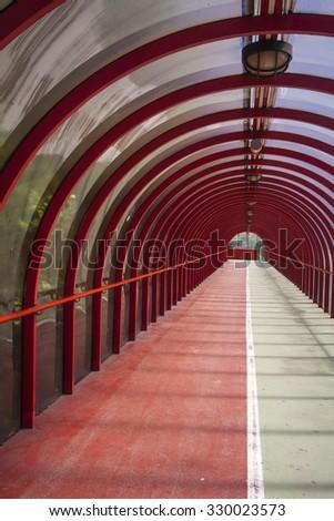 Walkway tunnel - stock photo