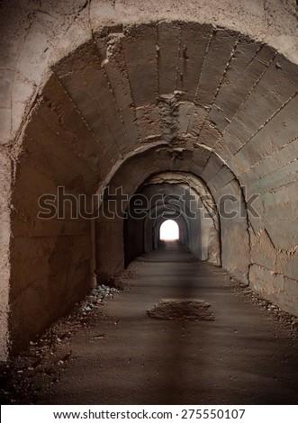 Walkway tunnel,Underground tunnels. - stock photo
