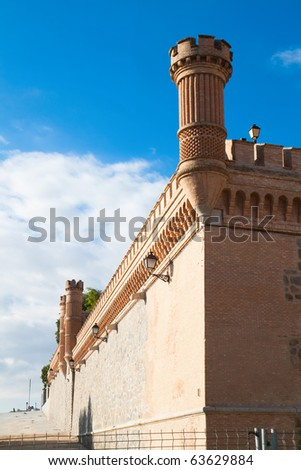 Wall and Towers of  Alcazar fortified palace in Toledo, Spain - stock photo