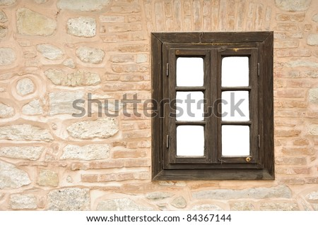 Wall and window with white copy space - stock photo