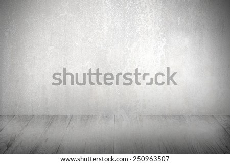wall and wood floor vignette background , White room with copy space and wooden floor - stock photo