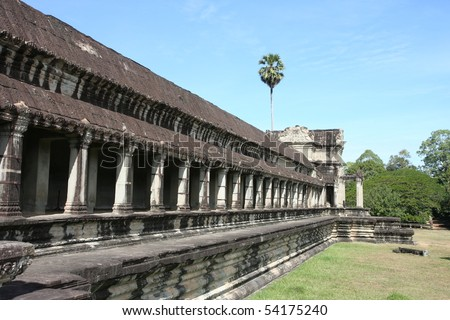 Wall around Angkor Wat in Cambodia - stock photo
