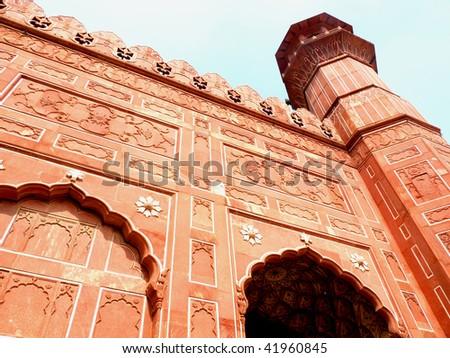 Wall Art of Badshahi Mosque Lahore. - stock photo
