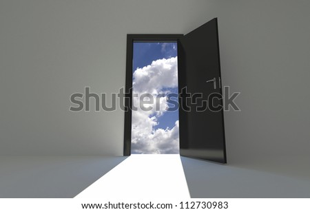 Wall Background with opened door on sky background - stock photo