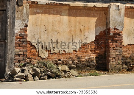 Wall Brick Old Crack Thailand - stock photo