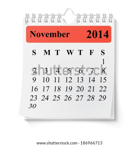 Wall calendar with spring 2014 - stock photo