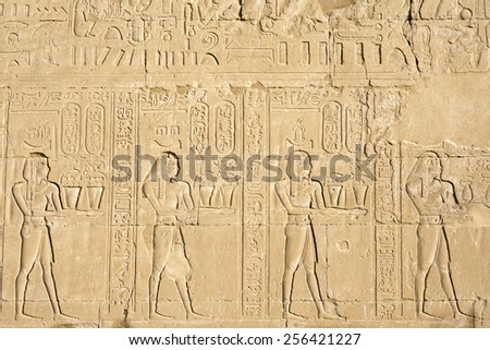 Wall carving, the temple of Edfu, Egypt - stock photo