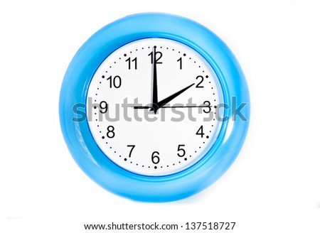 wall clock. blue color.white background - stock photo