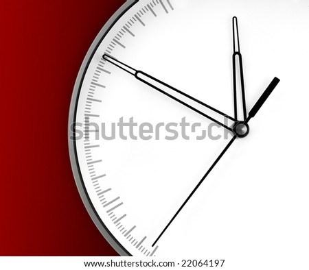 Wall Clock, isolated on red background - stock photo