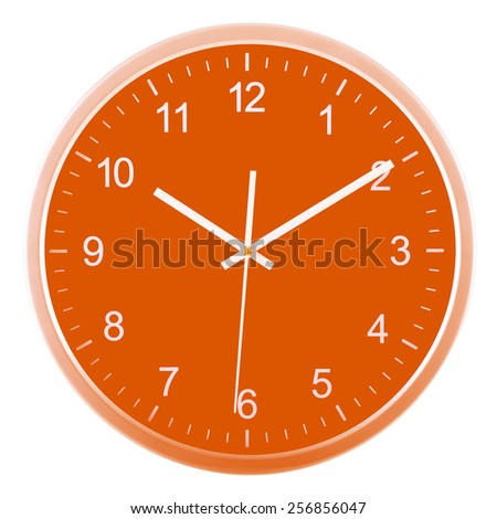 Wall clock isolated on white background. Ten past ten - stock photo