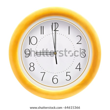 Wall clock, on the dial beginning of the working day - stock photo