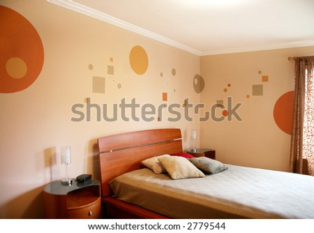 Wall design in a modern bedroom - stock photo