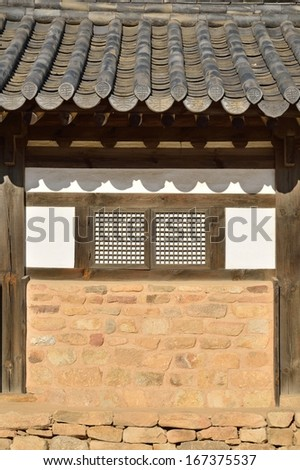 Wall detail of general  Korean Traditional House - stock photo