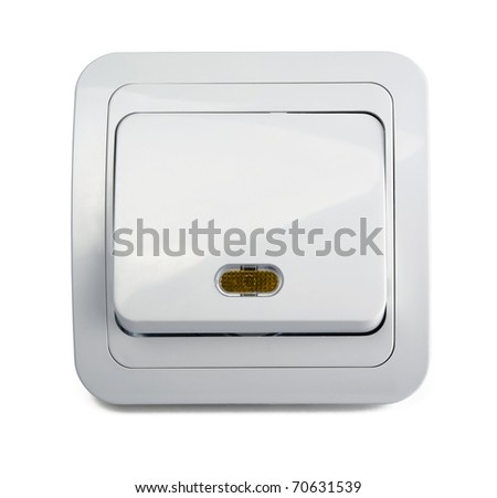 Wall electric light switch isolated on white - stock photo