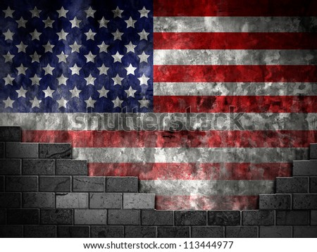 Wall flag of the United States - stock photo