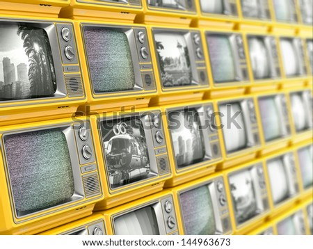 Wall from retro TV. Conceptual broadcasting. 3d - stock photo