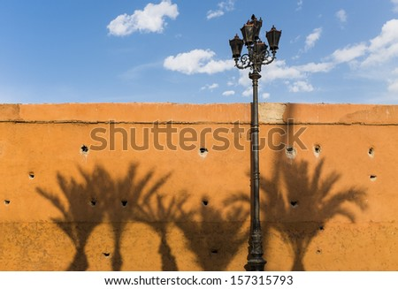 Wall in the Medina of Marrakesh with shadows of palm trees, Kingdom of Morocco, North Africa. The Medina of Marrakesh is a UNESCO World Heritage Site. - stock photo