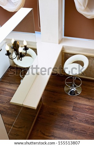 Wall mirror and bar tabletop top view, interior detail - stock photo