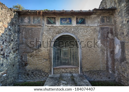 wall mosaics at the ancient Roman city of Herculaneum, which was destroyed and buried by mud and ash during the eruption of Mount Vesuvius in 79 AD  - stock photo