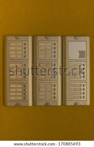 Wall Mounted Intercom Systems With Remote Unlocking Function and Direct-Press Buttons - stock photo