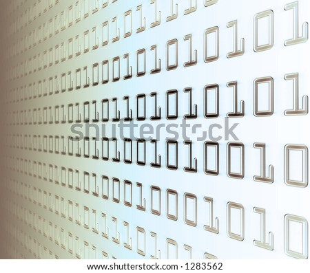 Wall of binary code (white light). - stock photo