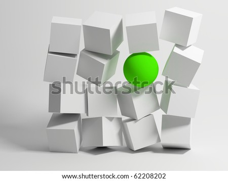 Wall of Cubes. Conceptual image of unique. 3d - stock photo