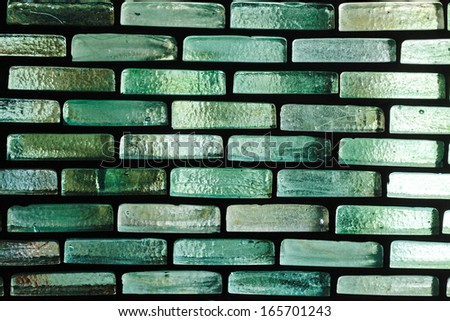 Wall of glass bricks as a background - stock photo