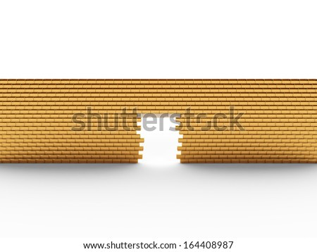 Wall of gold bars 2 - stock photo