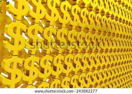 Wall of gold dollar sign - stock photo