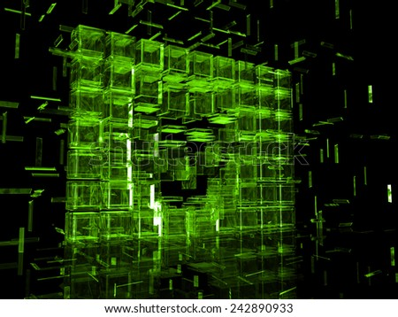 wall of green ice - stock photo