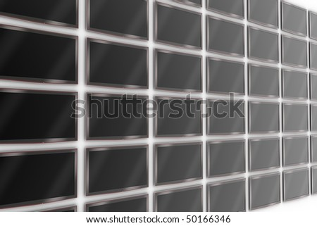 Wall of LCD TVs - stock photo