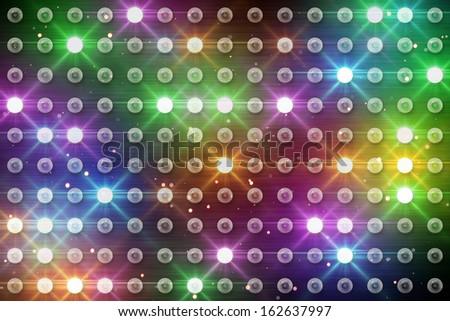 wall of multicolor lighting bulbs  - stock photo