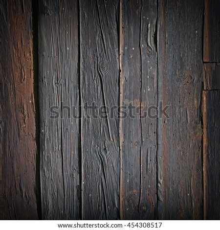 Wall of old and weathered oak wood  - stock photo