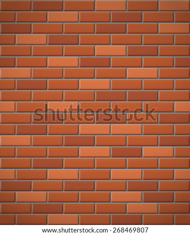 wall of red brick seamless background illustration - stock photo