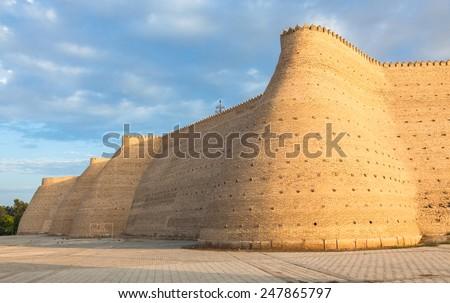 Wall of the Bukhara Fortress (Ark), Uzbekistan - stock photo