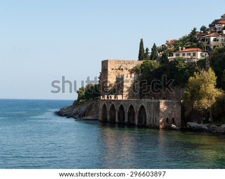 Wall of the old fortress in Alanya . Anatalaya, Turkey - stock photo