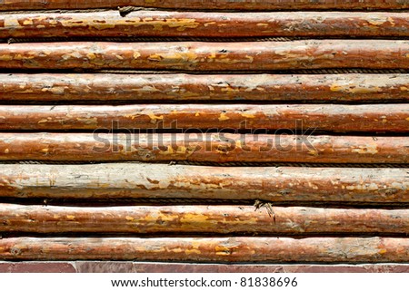 Wall of the rural house from wooden logs - stock photo