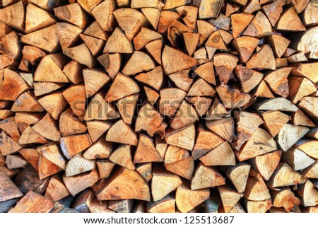 Wall of wood stump - stock photo